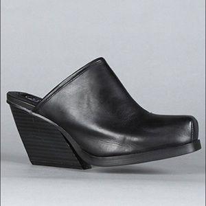 Black Leather Cheap Monday Mules